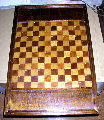 ANTIQUE SENSATIONAL OLD WOODEN GAMEBOARD CHECKERBOARD hand made hand painted