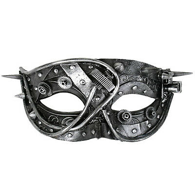 Steampunk Masquerade Eye Mask Costume Silver Black Gears