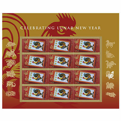 Us Chinese New 2017 Lunar New Year Of The Rooster 12 Vf Forever Stamp Sheet Nip