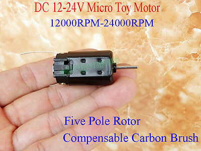 DC12-24V Five Pole Rotor Compensates Carbon Brush High Speed Micro Motor Toy DIY