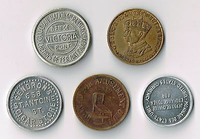 Lot Of Five Various Small Bowman Tokens