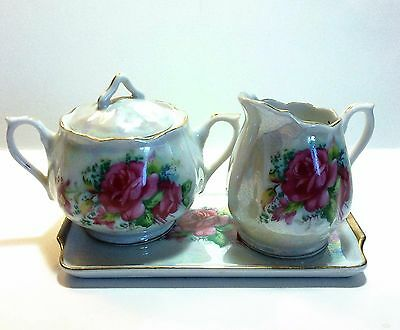 Japanese Lustreware cream and sugar with tray set