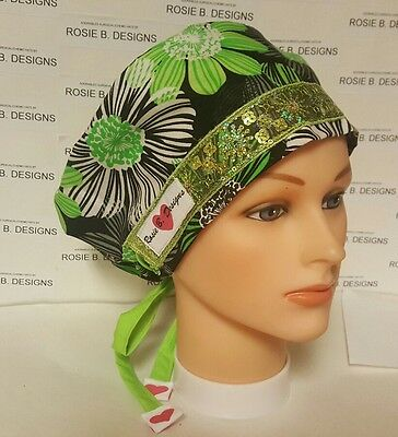 Ever  Green  / Pixie Hat/ Scrub Surgical/ Medical/ Chemo Caps