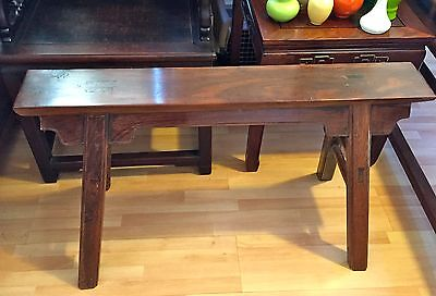 Old Chinese Ming Style Jichi Mu Bench Table Stool (chicken feather wood)