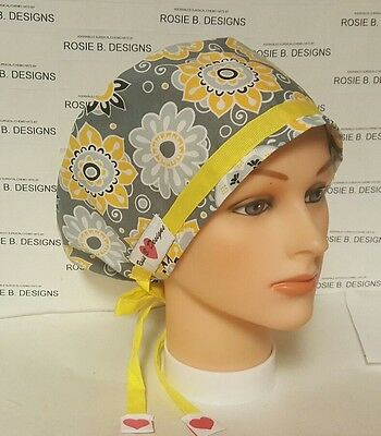 Yellow  Flowers  On Gray / Pixie Hat/ Scrub Surgical/ Medical/ Chemo Caps