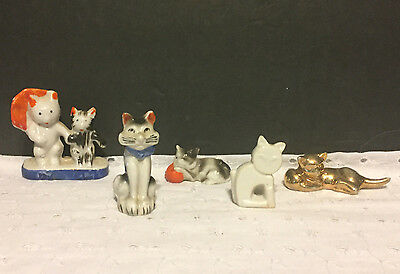 Vintage Lot of 5 Small Cat Figurines