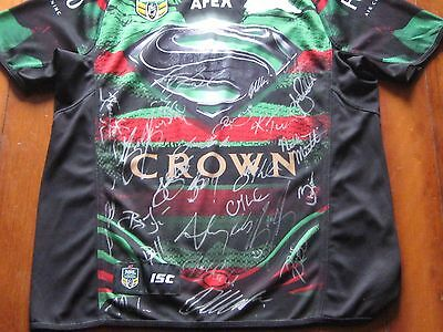 2014.rabbitohs  Premiers  Signed Superman Jersey By 24 +Premiers Pennant