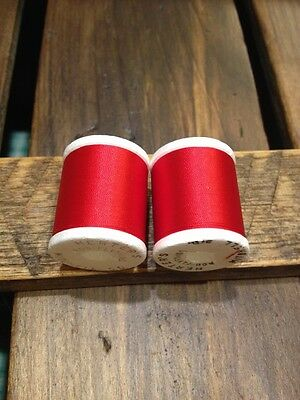 Vintage Gudebrod Scarlet Red Rod Winding Nylon Thread Size A Color 326 2 Spools