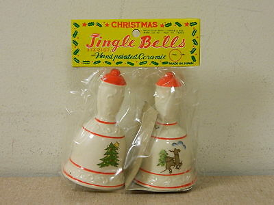 "2 Vtg Small Tiny 3-1/2"" Christmas Bells Jingle Bells - Japan - Dime Store? New"