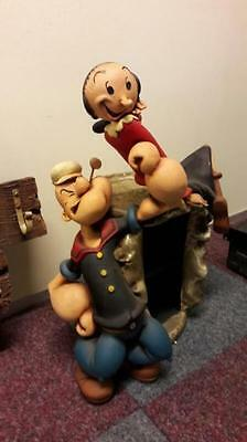 Popeye and Olive on Giant Spinach Can CD Rack figurine figure display statue