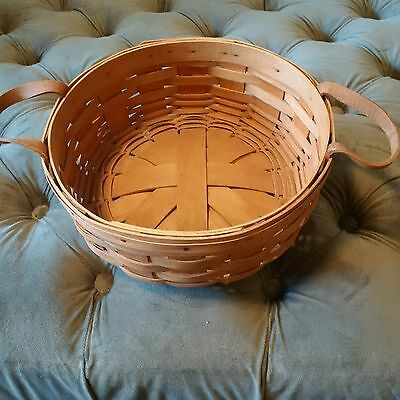 "Longaberger Two Leather Handled Basket 10"" x 4"" Free Shipping!"