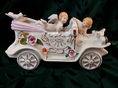 Vintage Bisque Planter Jalopy with Cherubs Birds and Flowers