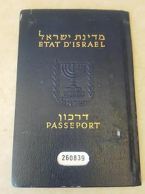 old ISRAEL COLLECTIBLE EXPIRED CANCELLED SOFT COVER PASSPORT  m.rubin glassberg