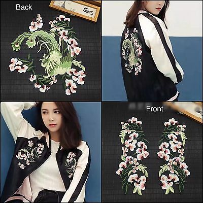 3pcs Japanese Style Flower Floral Embroidered Sew On Patch Jacket Applique DIY