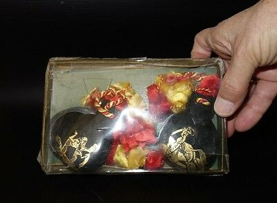 Old Hand Made Painted Spanish Castanetas New  - in Original Box Case