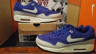 outlet store f2820 8c52c NIKE AIR MAX 1 PRM 512033-408 size 8.5 DEEP ROYAL BLUE 90 v2 boost