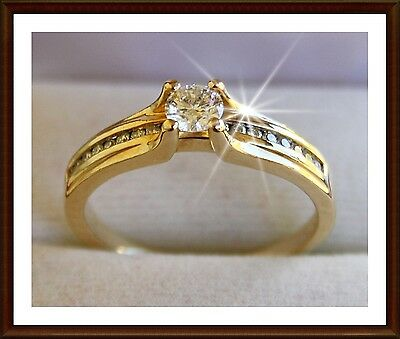 GENUINE 0.52ct DIAMOND engagement ring 18K 18ct solid YELLOW GOLD, 20 diamonds