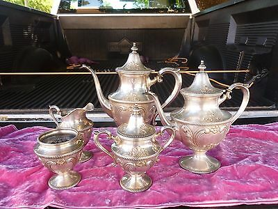 Antique Chased 5 Piece Artcraft Sterling Silver Tea Set W No Tray 1993.5 Grams