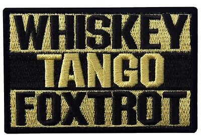 WHISKEY TANGO FOXTROT Tactical Morale Embroider Airsoft Biker Hk/Lp Patch Yellow