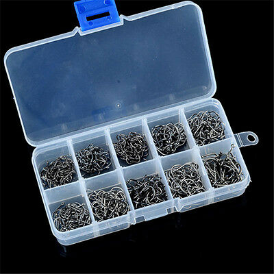 Hot 500pcs 10 Sizes Assorted Sharpened Fishing Hooks Lures With Tackle Box #1