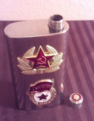 VODKA FLASK USSR Russian Soviet Military Officer CCCP Stainless Steel,RARE!
