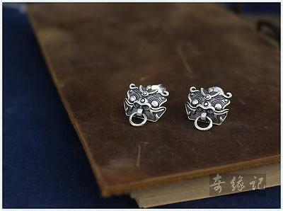 Collecteable Vintage Fob 925 Sliver Earring Earrings Stud hook clip Fengshui