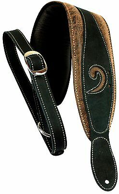 "LM Products 3"" Leather Bass Clef Padded Guitar Strap Black"