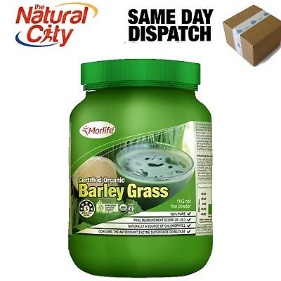 Morlife Organic Barley Grass Powder 1 Kg + Free Smart Shaker valued $15