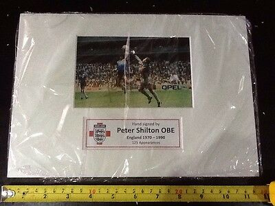 Peter Shilton Hand Signed England World Cup Football Photo Display A4 Maradona