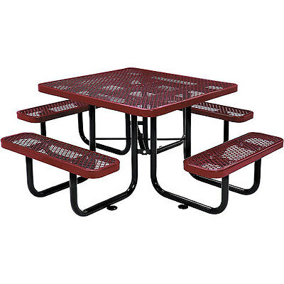 """46"""" Square Expanded Metal Picnic Table Red"""