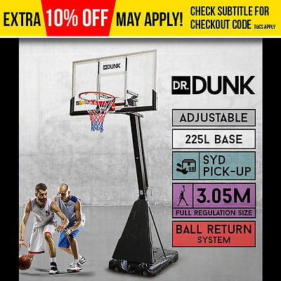 DrDUNK Pro Portable Adjustable Basketball Stand System Slam Height Hoop Net Ring