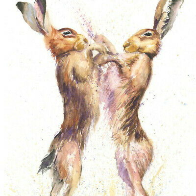 HELEN ROSE Limited Print HARES BOXING wildlife art watercolour painting 366