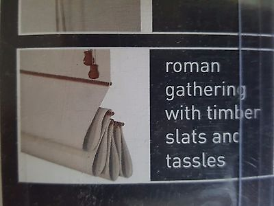 Pair of high blockout Mato Roman Blinds 150cm W x 210cm L, white with timber