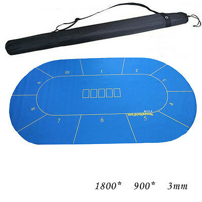 180*90cm Texas Hold'em Poker Board Felt Table cloth Rubber layout with Bag NEW