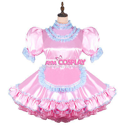 lockable Satin Sissy french Maid  dress Male Tailor-made [G2450]