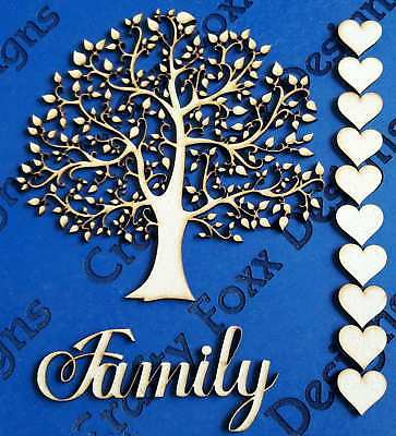 MDF Family Tree Set Kit with Tree Hearts and Word  Wooden Craft Blank Shape S181