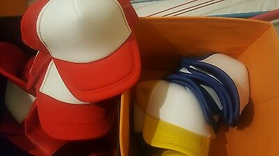 Kids Child Unisex Trucker Mesh Coloured Caps - Job Lot Bulk Wholesale Brand New