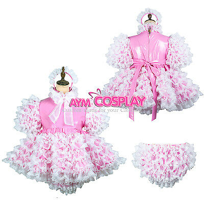 lockable adult Sissy baby Maid PVC dress cosplay unisex CD/TV Tailor-made[G2432]
