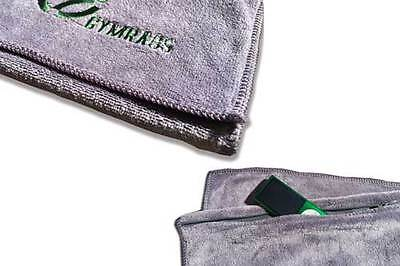 GYMRAGS Soft Microfibre Grey Gym Sports Fitness Hand Sweat Towel with Zip Pocket