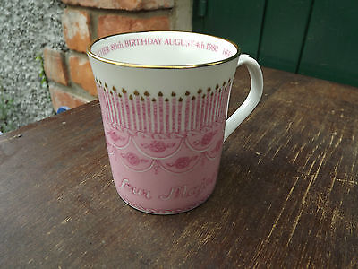 1980 Queen Mother's 80th Birthday J & J May Pink Mug with 80 candles