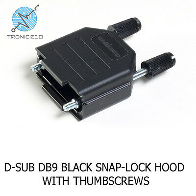 D-Sub DB9 DE9 9 Pin Black Hood with Thumb Screws Backshell Cover 15 Pin DB15HD