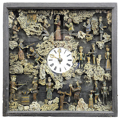 one of a kind black forest folksy wall clock with moving figurines