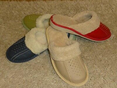 Suede  leather sheepskin wool ladies slippers size 4, 5,6,7,8