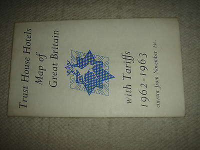 1962 TRUST HOUSE HOTELS MAP inc tariff guide