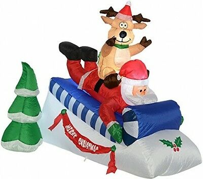 Outdoor Christmas Decoration Inflatable Santa And Reindeer With Sleigh LED Light