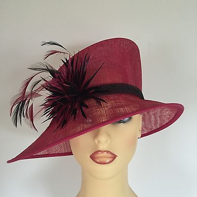 Ladies Wedding Hat Races Mother Bride Ascot Pink Black Feathers