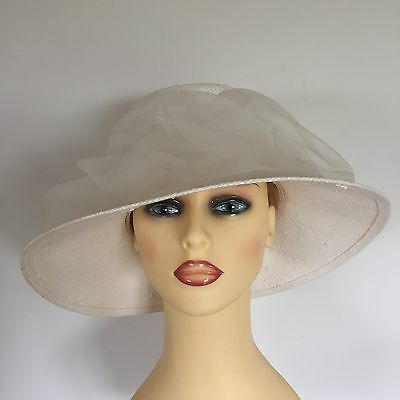 Ladies Wedding Hat Races Mother Bride Ascot Ivory Chiffon Swoops