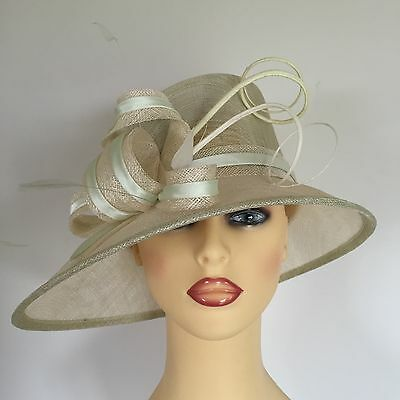 Ladies Wedding Hat Races Mother Bride Ascot Pale Green & Ivory