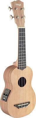 Traditional electro-acoustic soprano ukulele with solid cedar top