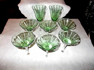 Fostoria Crystal Green Crystal Champagne Glasses (6) and Wine Glasses (2)